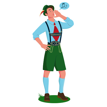 A young man singing a yodel in traditional Bavarian costume. Vector cartoon illustration.