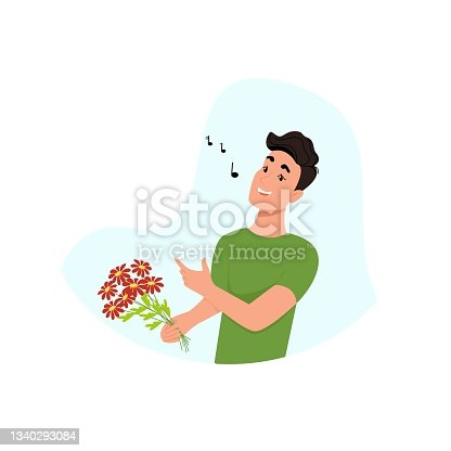 istock Young man sings, guy with flowers in his hands, happy man. Vector character in flat style, cartoon. 1340293084