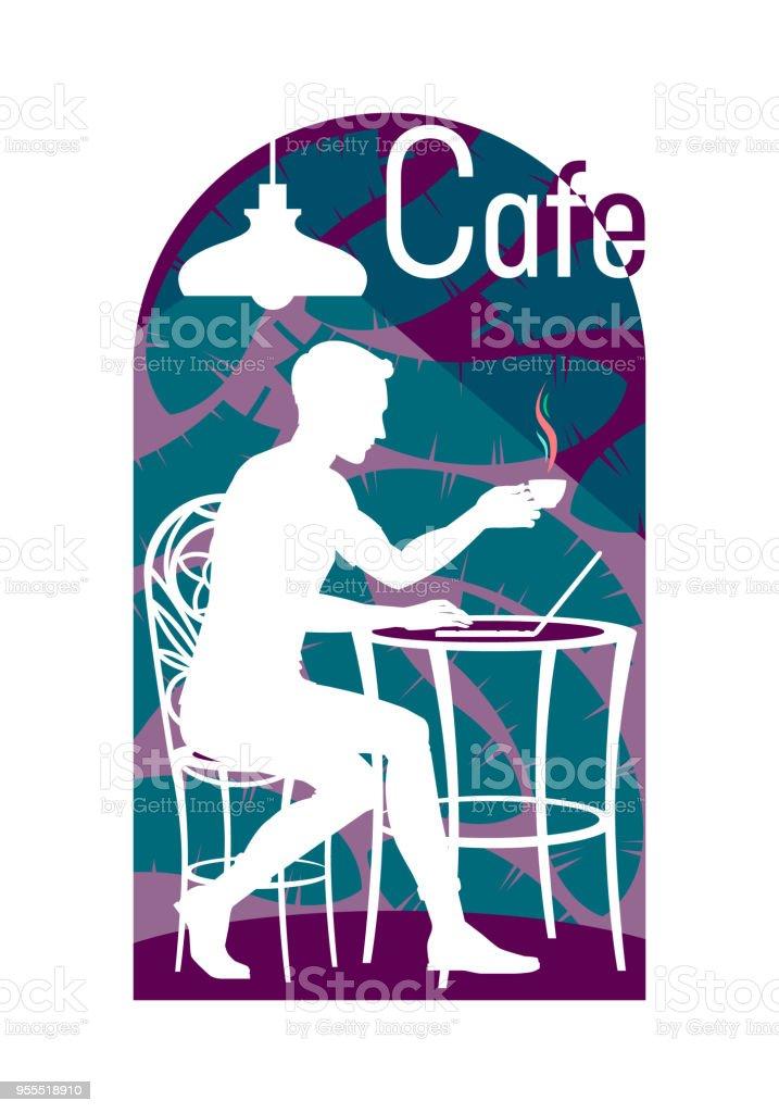 Sur Tasse Un Café De Assis Une Chaise Jeune Dans Avec Homme v8nwmON0