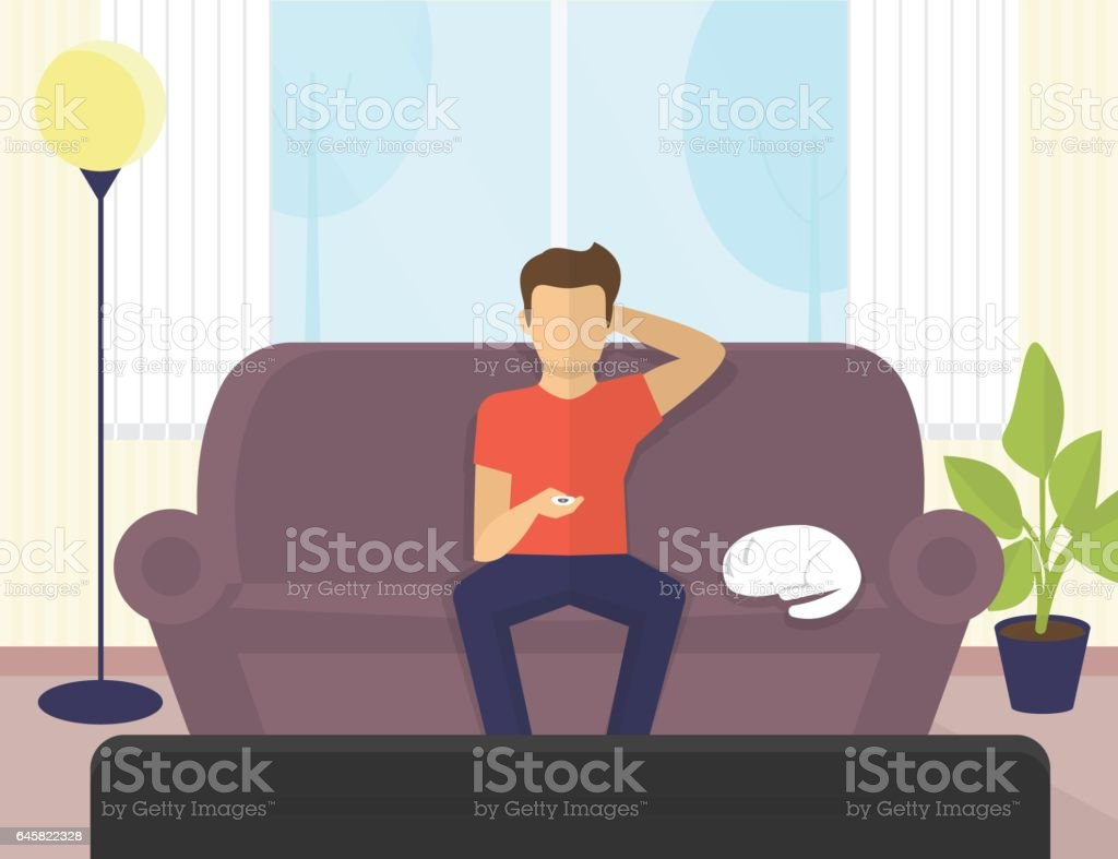 Young man sitting at home on the sofa watching tv and drinking beer vector art illustration