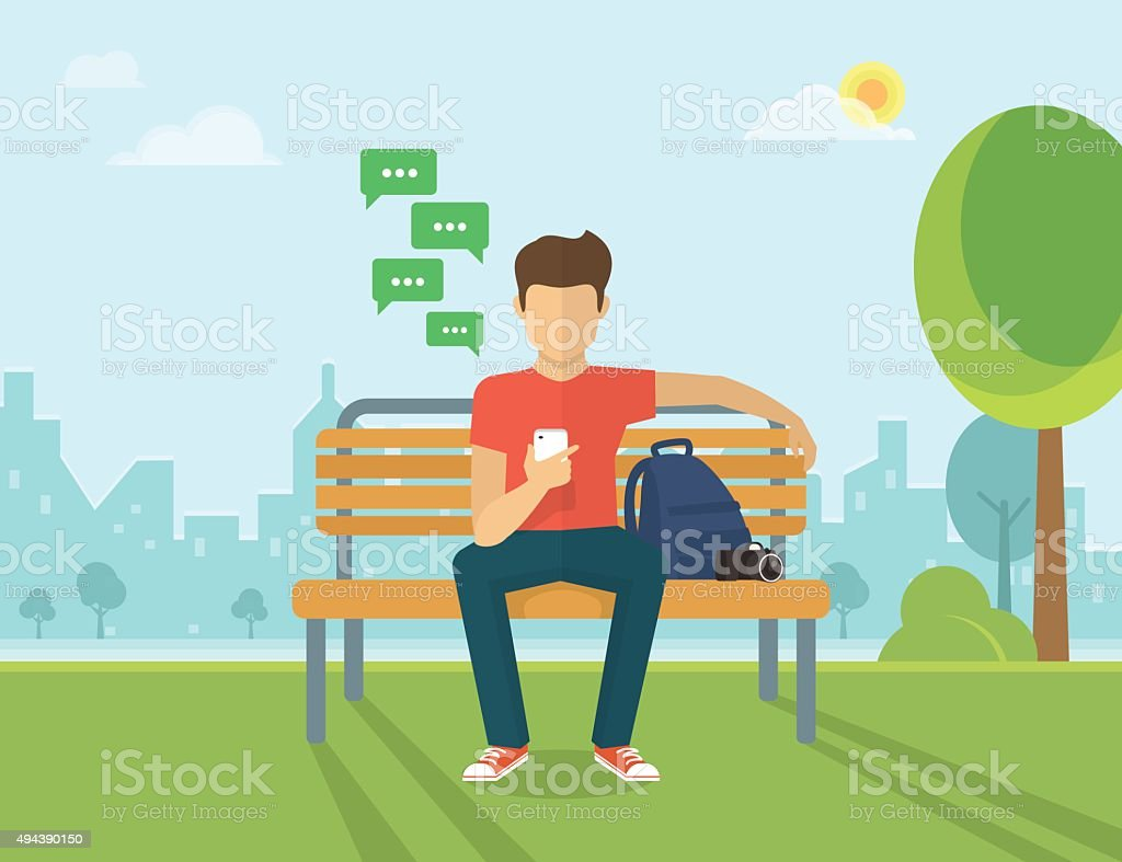 Young man sitting in the street and texting vector art illustration