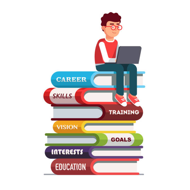 Young man sitting on books stack working on laptop. Flat vector clipart illustration Young man wearing sitting on big books stack representing his skills and knowledge working on laptop computer. Education, professional career establishment basics metaphor. Flat vector illustration book clipart stock illustrations