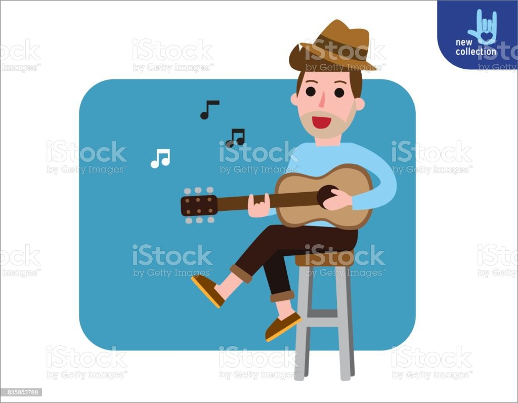 young man sitting on chair playing guitar and sings a song. Vector flat style cartoon character people design illustration Isolated on white background. vector art illustration