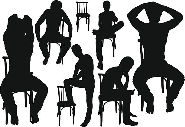 young man sitting on chair. - old man naked silhouette stock illustrations, clip art, cartoons, & icons