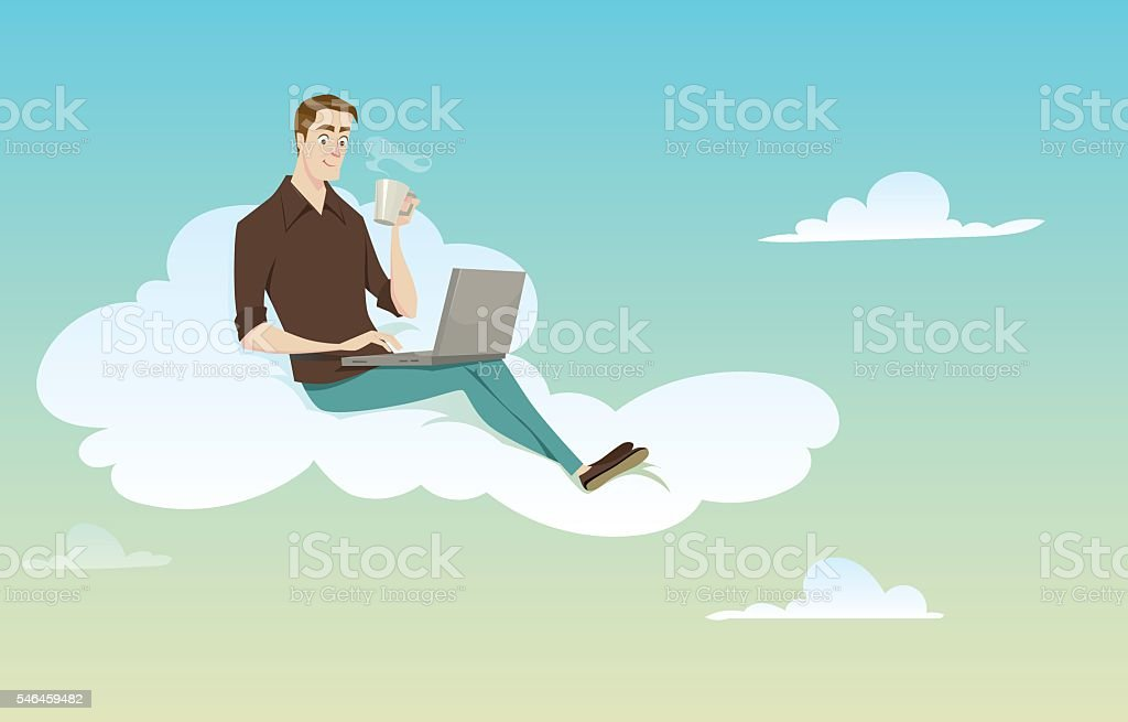 Young man sitting on the cloud. vector art illustration