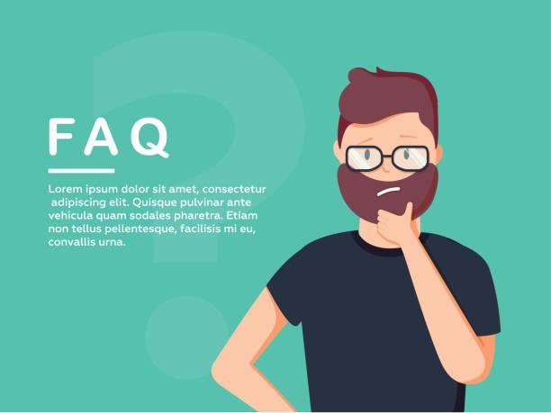 年輕人站在大問題的符號附近, 他需要通過現場聊天, 服務台或常見問題諮詢説明或建議。 - 困惑 幅插畫檔、美工圖案、卡通及圖標
