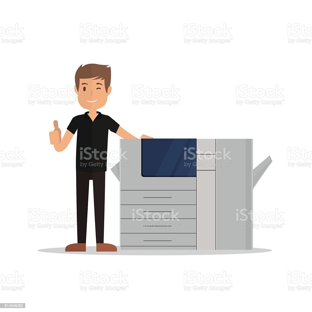 young man standing near printer and pointing thumbs up vector art illustration