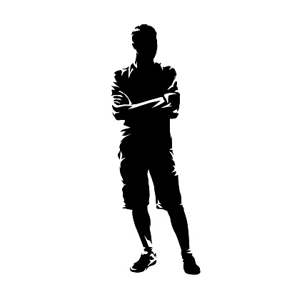 Young man standing with folded arms. Guy wearing shorts and shirt, summer clothing. Isolated vector silhouette, abstract ink drawing