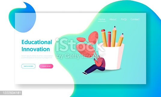 Young Man Study Foreign Language Landing Page Template. Tiny Male Character with Smartphone Sit at Huge Pencil Box Study Chinese Courses, Reading News in Internet. Cartoon Vector Illustration