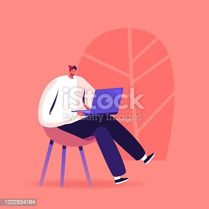 Young Man Study Foreign Language, Prepare for Exam, Freelancer Work Distant. Male Character with Laptop Sit on Chair Study Chinese Courses, Reading News in Internet. Cartoon Vector Illustration