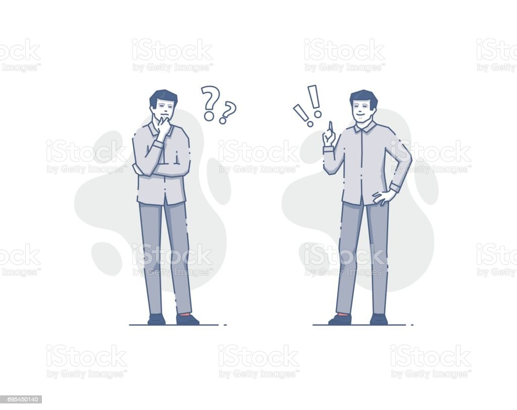 Young man thinking and deciding flat outline illustrations vector art illustration