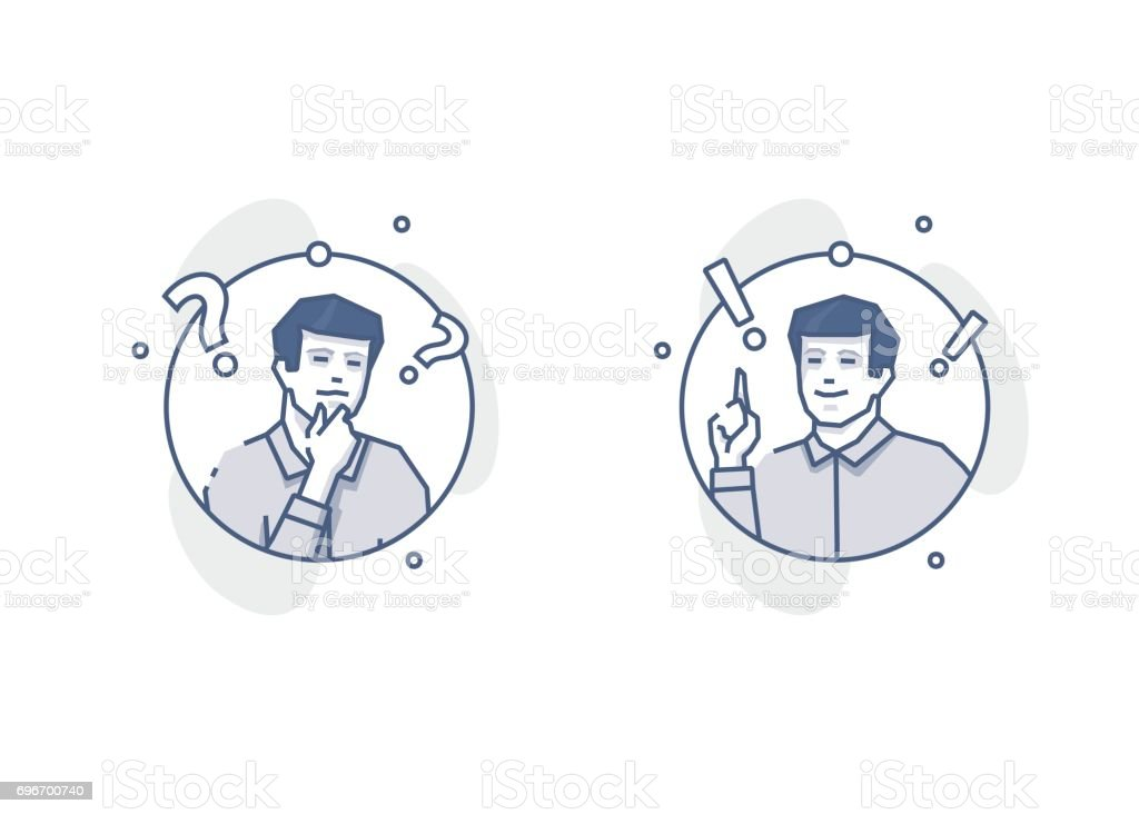 Young man thinking and deciding round outline illustrations vector art illustration