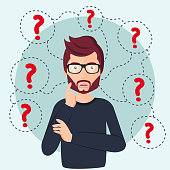 Young man thinking standing under question marks. Man surrounded by question marks concept. Flat vector illustration. Man character