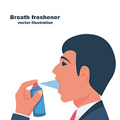 A young man uses breath freshener. Open mouth portrait in profile. Aerosol spray in the hand. Spraying antibacterial agent. Vector illustration flat design. Isolated on white background. Fresh breath.