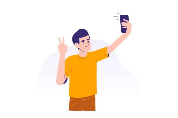 junger mann mit smartphone zu kommunizieren. glücklich teen junge selfie mit telefon-konzept. verwenden eines tragbaren geräts oder gadgets. männliche zeichentrickfigur. isolierte moderne vektor-illustration - selfie stock-grafiken, -clipart, -cartoons und -symbole