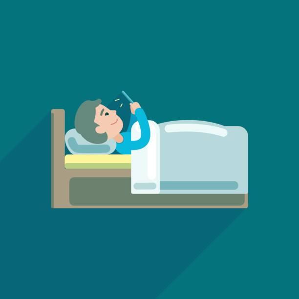 若い男は、ベッド、ベクトル アイコン イラストでスマート フォンにテキスト メッセージを使用して。 - スマホ ベッド点のイラスト素材/クリップアート素材/マンガ素材/アイコン素材