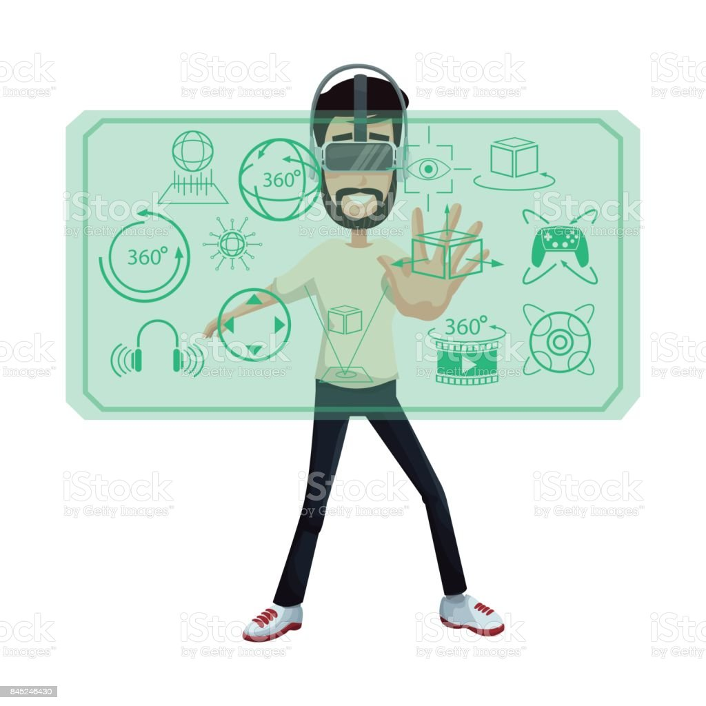 young man virtual reality wearing headset looking 3d display vector art illustration
