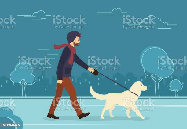 Young man walking outdoors with his dog in the evening vector id641600078?b=1&k=6&m=641600078&s=612x612&h=jmz2pmwficwu5grdejdz6ctdxmv ejrtg bygjmutjg=