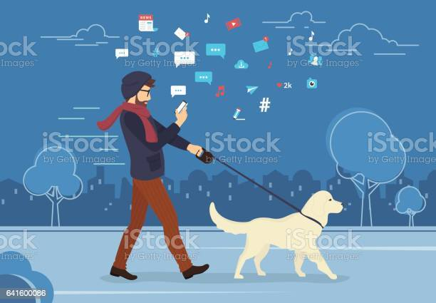 Young man walking outdoors with his dog in the evening vector id641600086?b=1&k=6&m=641600086&s=612x612&h=j256qu1vgmm3z2en7rtvopn9toqtuskb5qjgaxvuhh8=