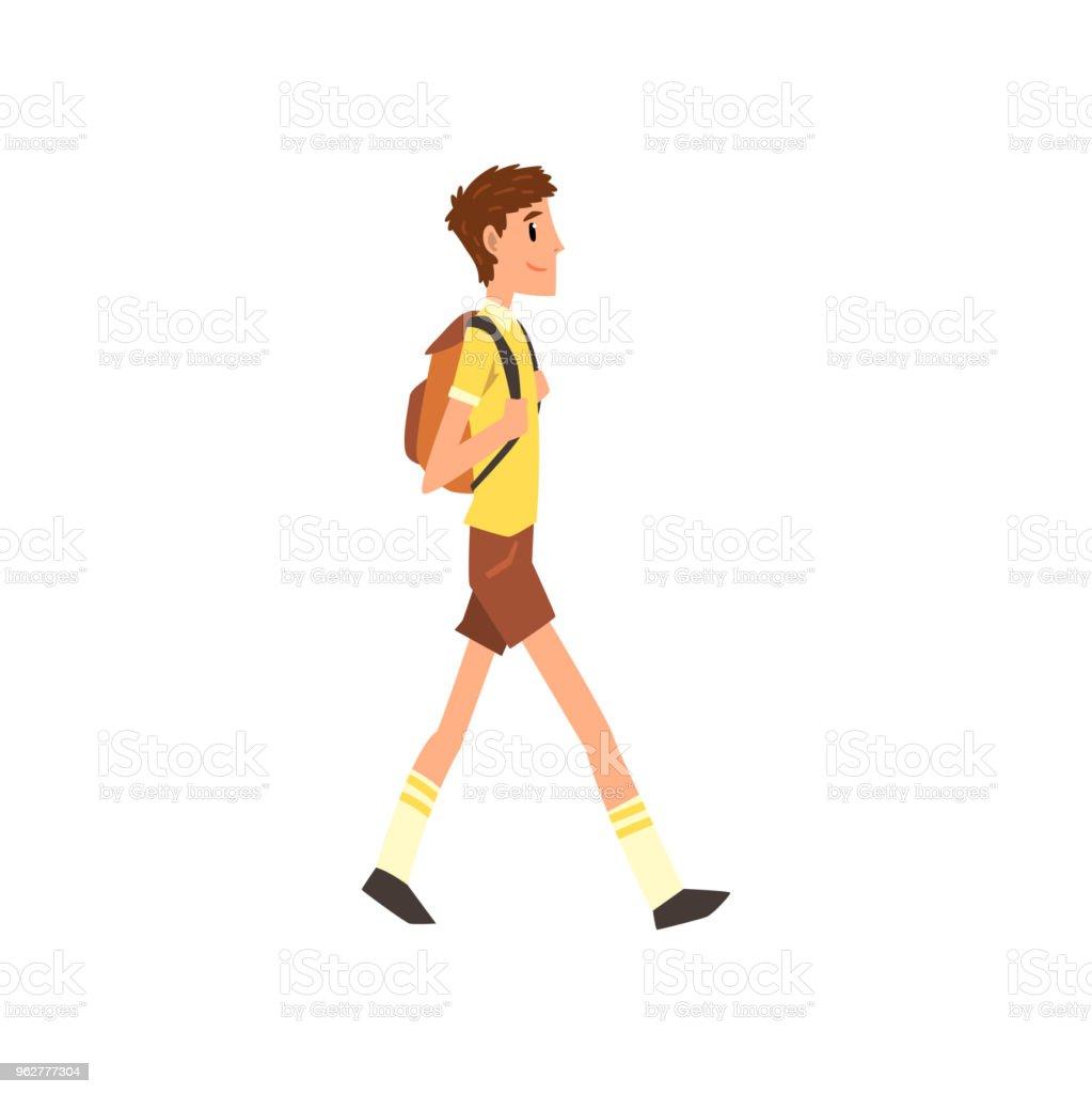 Jovem, andando com a mochila, vetor de desenhos animados de conceito estilo de vida ativo e saudável ilustração sobre um fundo branco - Vetor de Adulto royalty-free