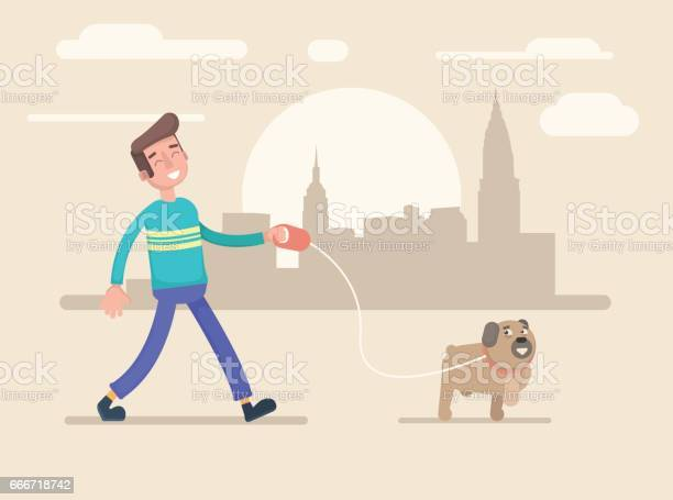 Young man walks in the park with his dog vector id666718742?b=1&k=6&m=666718742&s=612x612&h=qmqiho8cokne84ipd6rsa2mnwnm6pinkl0grbwje6fe=