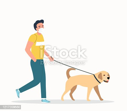 istock Young  man wearing face masks walking with a dogs isolated. Vector flat style illustration 1217209550