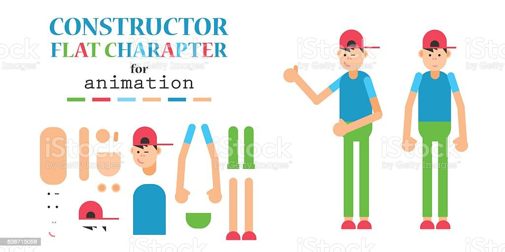 Young man wearing hoodie character creation set. vector art illustration