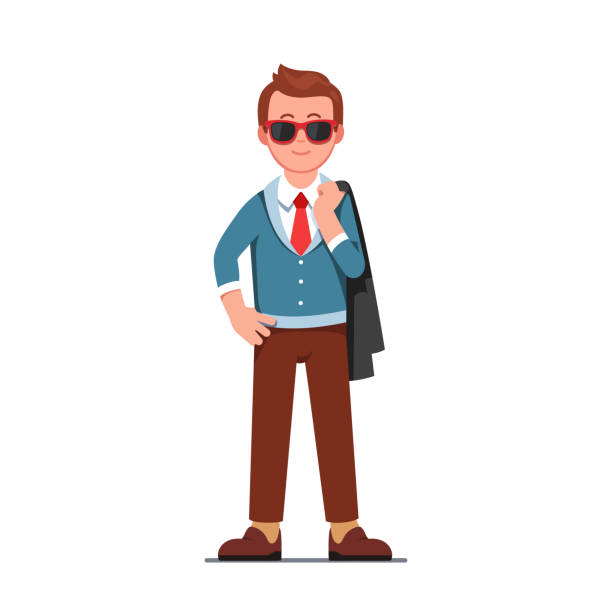 Young man wearing sunglasses standing and smiling vector clipart illustration Self assured smiling man wearing sun shades standing with jacket over his shoulder. Cool hipster guy character in trendy clothes & necktie. Flat style isolated vector character illustration suave stock illustrations