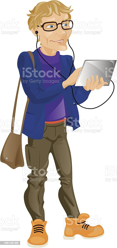 young man with a Tablet PC royalty-free stock vector art