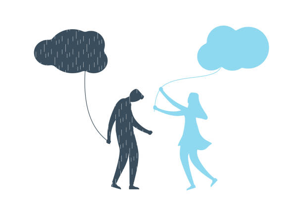 Young man with anxiety and depression illustration Young man with anxiety and depression holding dark cloud with rain. His girlfriend supports and helps him with mental illness, brings to him happy feellings with clean sky. Flat vector illustration. grief stock illustrations