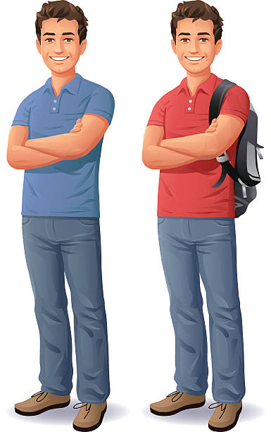 stockillustraties, clipart, cartoons en iconen met young man with arms crossed - in de camera kijken