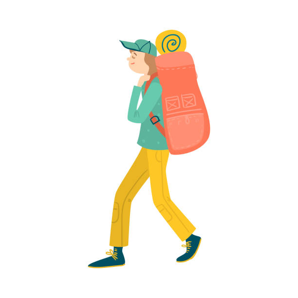 stockillustraties, clipart, cartoons en iconen met jonge man met rugzak gaan voor camping vector illustratie - alleen één jonge man