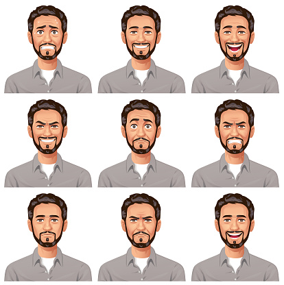 Young Man With Beard- Facial Expressions