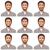 Vector illustration of a young bearded man with nine different facial expressions: anxious, smiling, laughing, mean/ smirking, stunned/surprised, furious, neutral, angry and talking.  Portraits perfectly match each other and can be easily used for facial animation by simply putting them in layers on top of each other.