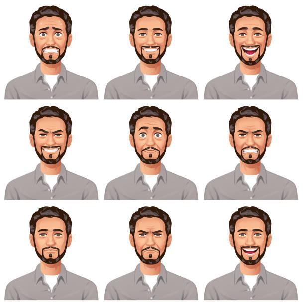 junger mann mit bart - facial expressions - mann bart freisteller stock-grafiken, -clipart, -cartoons und -symbole