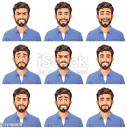 Young Man With Beard Portrait- Emotions