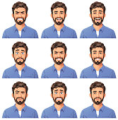 Vector illustration of a young bearded man with nine different facial expressions: angry, talking, laughing, stunned/surprised, mean/smirking, smiling, sceptic, anxious, neutral. Portraits perfectly match each other and can be easily used for facial animation by putting them in layers on top of each other.