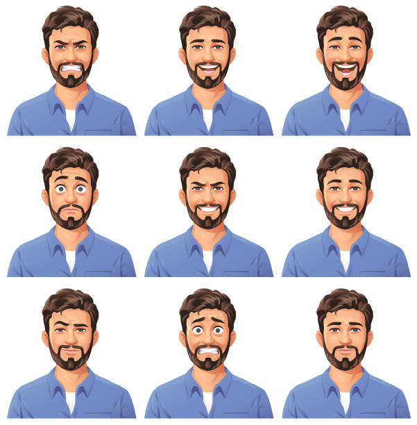 stockillustraties, clipart, cartoons en iconen met jonge mens met het portret van de baard- emoties - jonge mannen