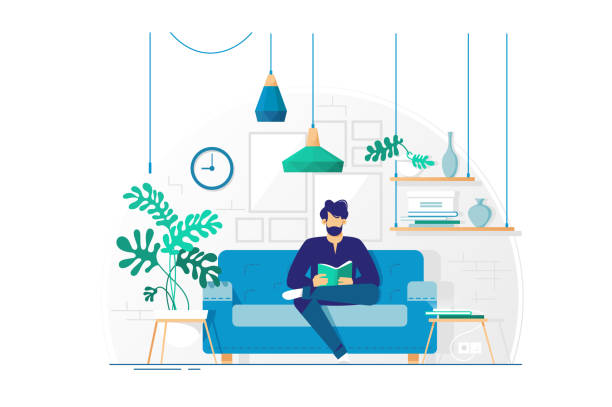ilustrações de stock, clip art, desenhos animados e ícones de young man with beard reading book sitting on couch. - interior