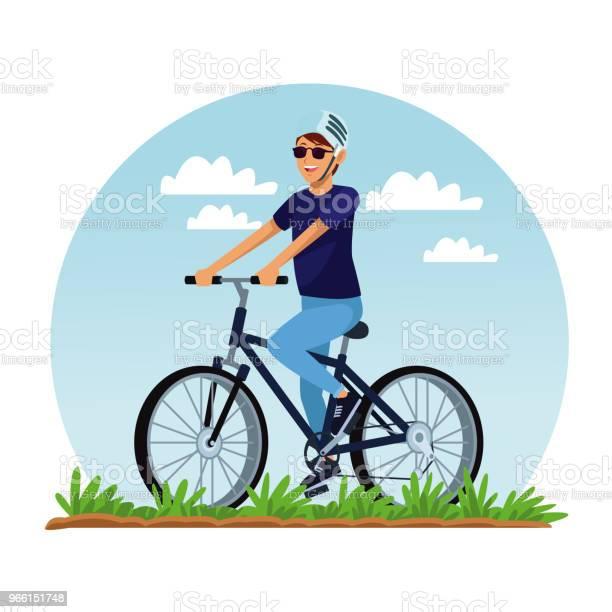 Ung Man Med Cykel-vektorgrafik och fler bilder på Avkoppling
