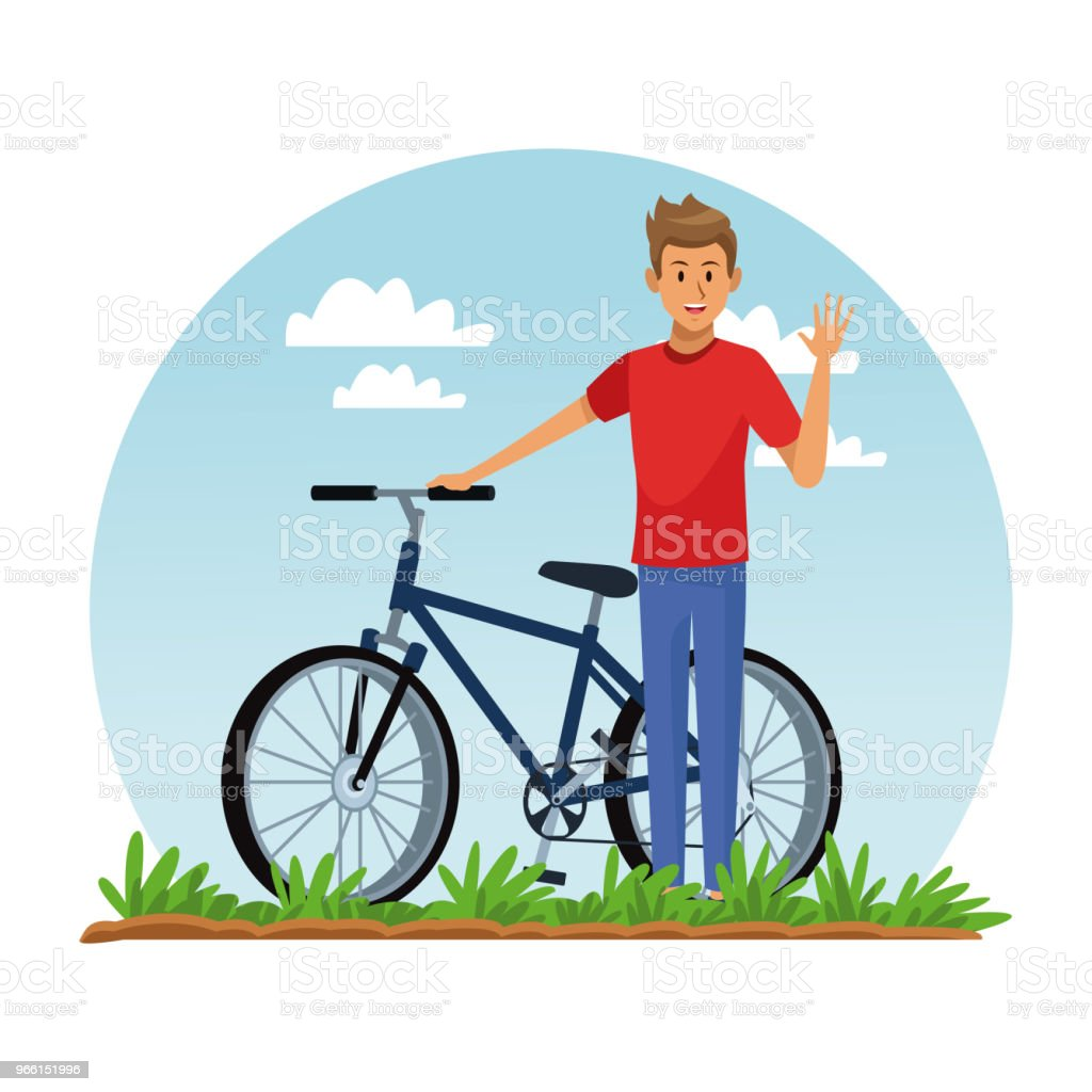 Young man with bike - Royalty-free Adult stock vector