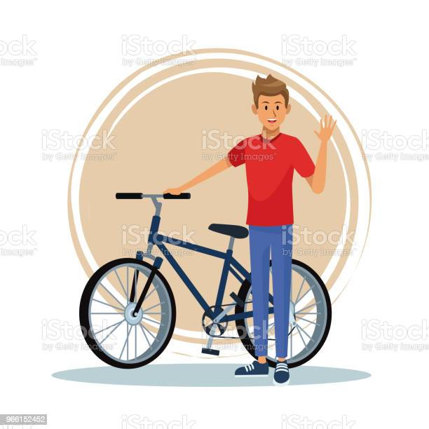 Young Man With Bike Stock Illustration - Download Image Now