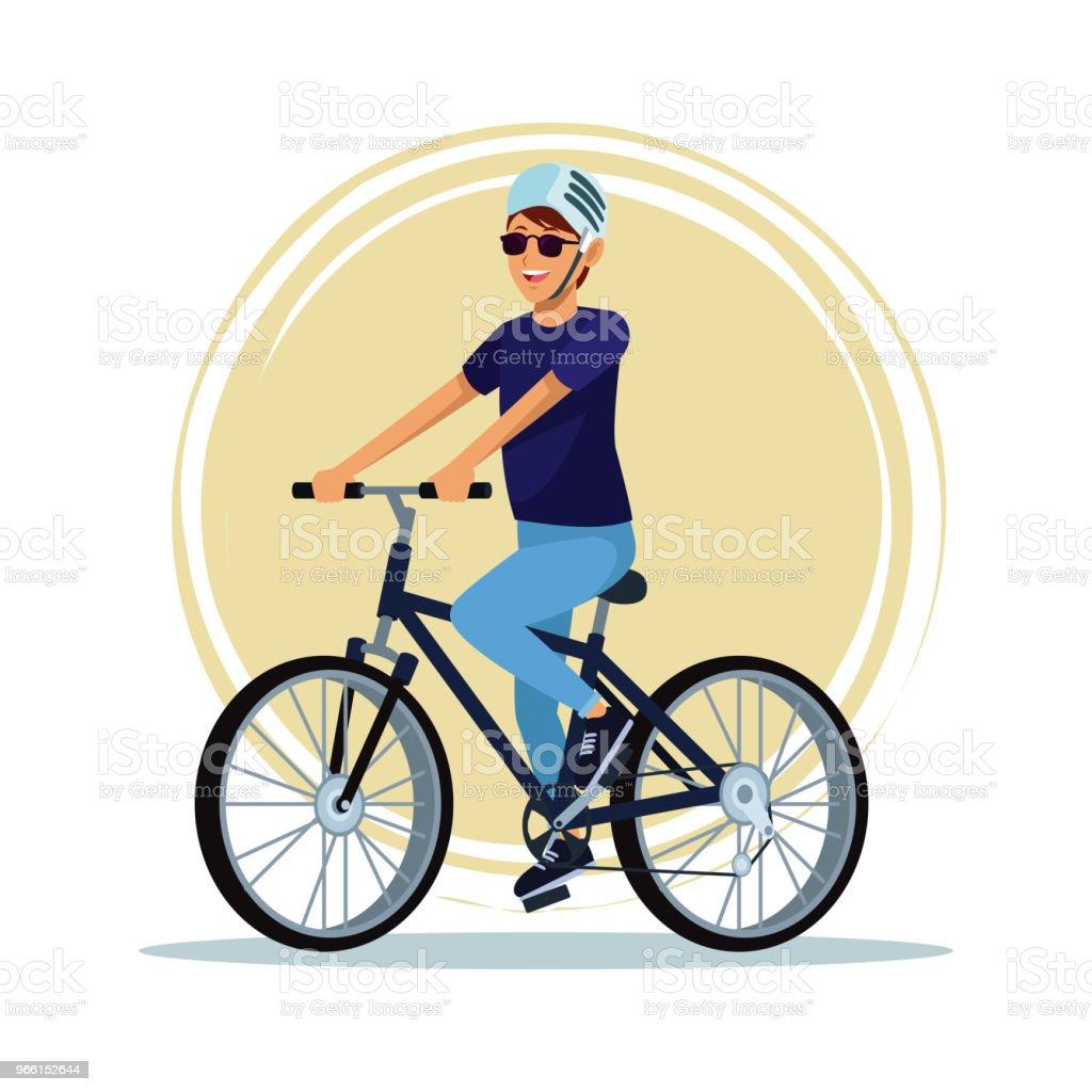 Junger Mann mit dem Fahrrad - Lizenzfrei Ausrüstung und Geräte Vektorgrafik