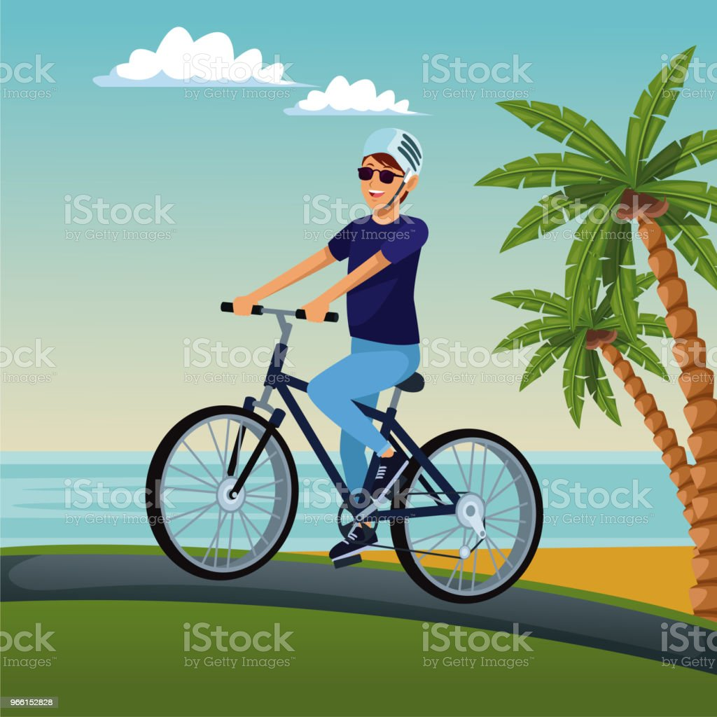 Young man with bike - Royalty-free Adulto arte vetorial