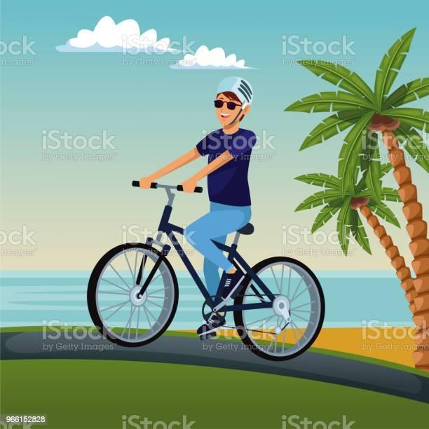Young Man With Bike - Arte vetorial de stock e mais imagens de Adulto