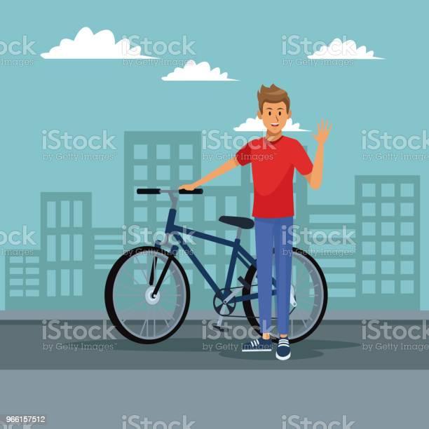Giovane Con La Bici - Immagini vettoriali stock e altre immagini di Abbigliamento sportivo