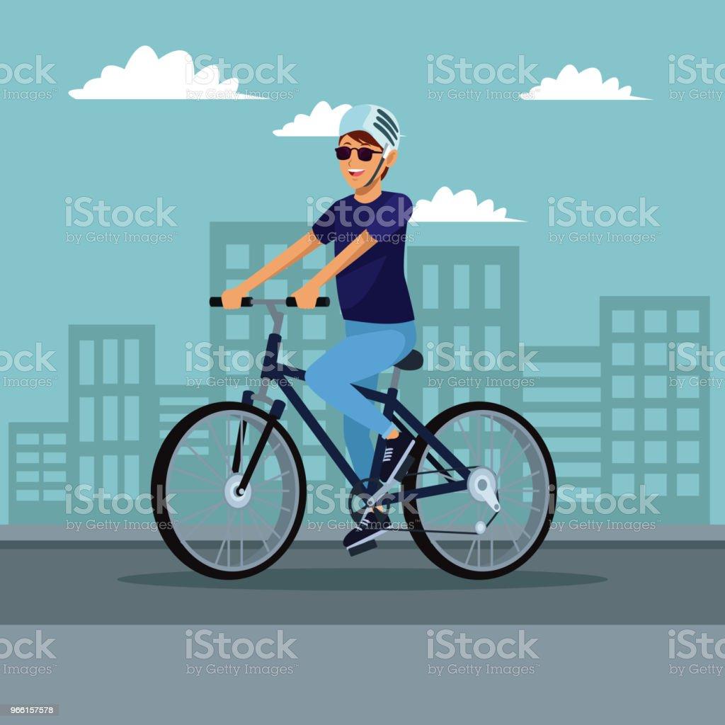 Jonge man met fiets - Royalty-free Apparatuur vectorkunst