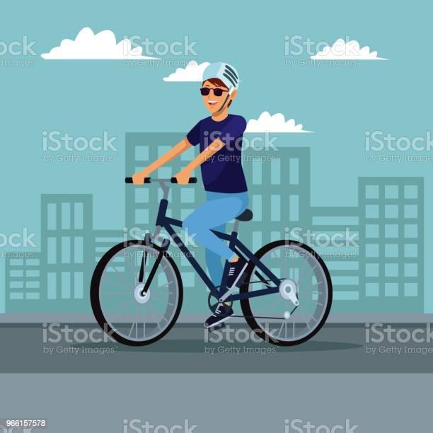 Junger Mann Mit Dem Fahrrad Stock Vektor Art und mehr Bilder von Ausrüstung und Geräte