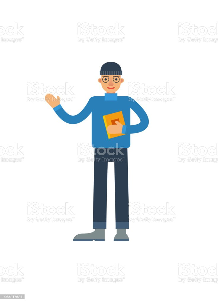 Young man with book waving hand royalty-free young man with book waving hand stock vector art & more images of adult
