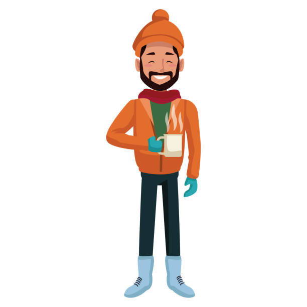 Young man with coffee cup winter cartoon vector art illustration